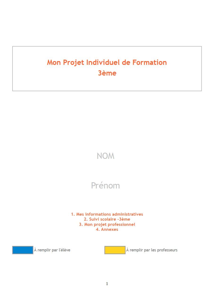 Le Projet Individuel De Formation Pif 2013 2014