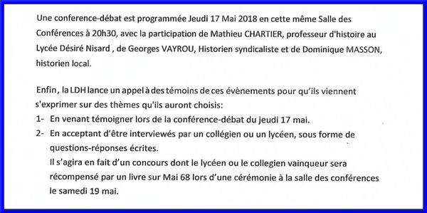 Communiqué de la LDH sur l'anniversaire de mai 58