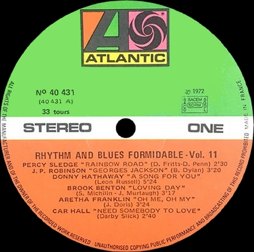 "Série "" Formidable Rhythm & Blues Vol 11 "" Atlantic Records 40 431 [ FR ]"