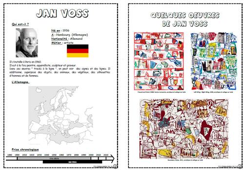 Jan Voss, arts visuels, fiches artistes, préparation ce1, cp, cycle 3, lignes, signes