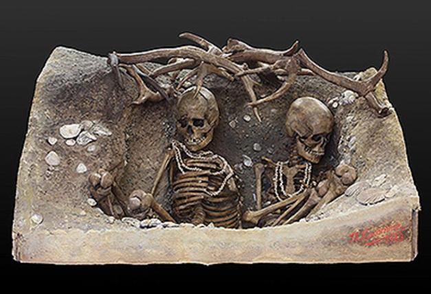 Nécropole de TEVIEC, sépulture d'il y a 7400 ans