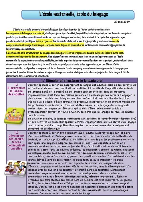 LES RECOMMANDATIONS : la maternelle, école du langage