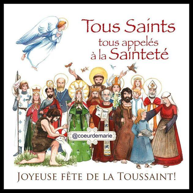 L'image contient peut-être: 12 personnes, texte qui dit 'Tous Saints tous appelés àla Sainteté @coeurdemarie JOYEUSE FÊTE DE LA TOUSSAINT!'