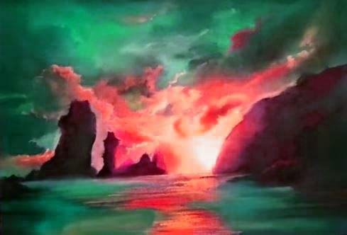 Dessin et peinture - vidéo 2011 : Comment rendre l'atmosphère de fin de journée avec des pastels tendres ? paysage marin.