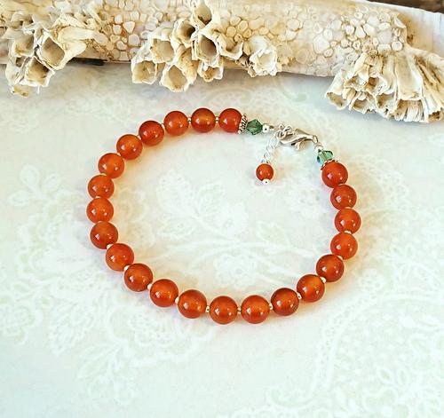 Bracelet pierre de cornaline / argent 925 et plaqué argent, ajustable de 18 à 19 cm - orange carnelian bracelet / sterling silver and silver plated