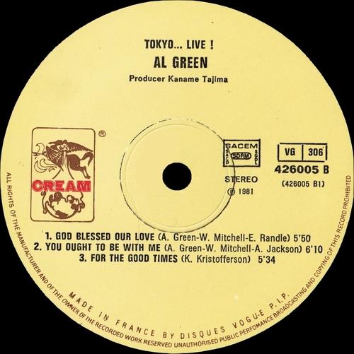 """Al Green : Album """" Tokyo ... Live """" Hi Records HLP 6012 [ US ]"""
