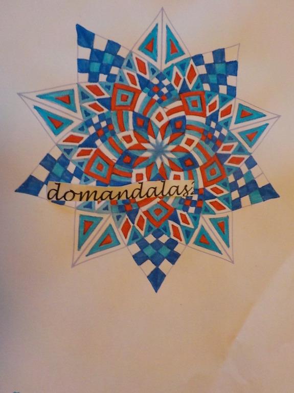 DOMANDALAS  coloriage étoile  rouge bleue blanche