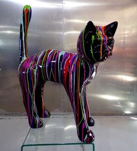 Chat trash design M- Animaux et statues couleurs peintes en résine