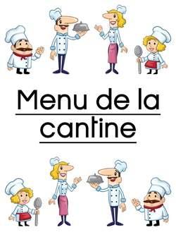 Le menu de la cantine