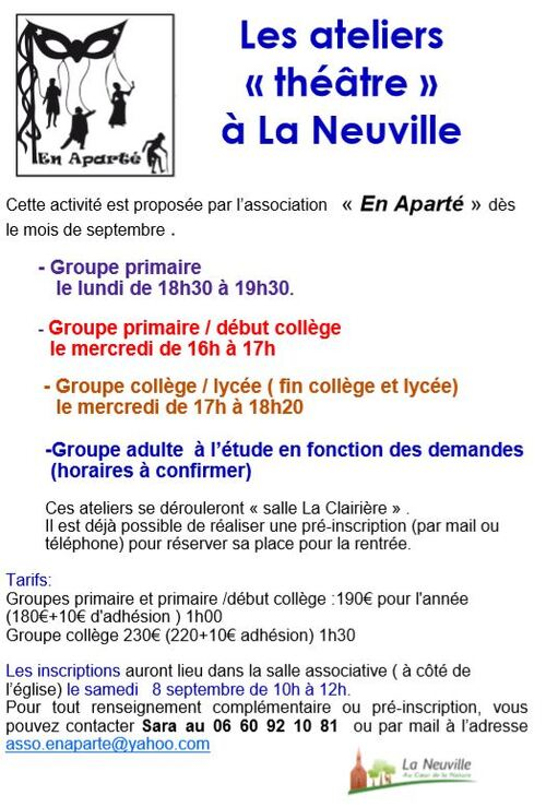 Découvrez les activités proposées dès la rentrée de septembre sur La Neuville