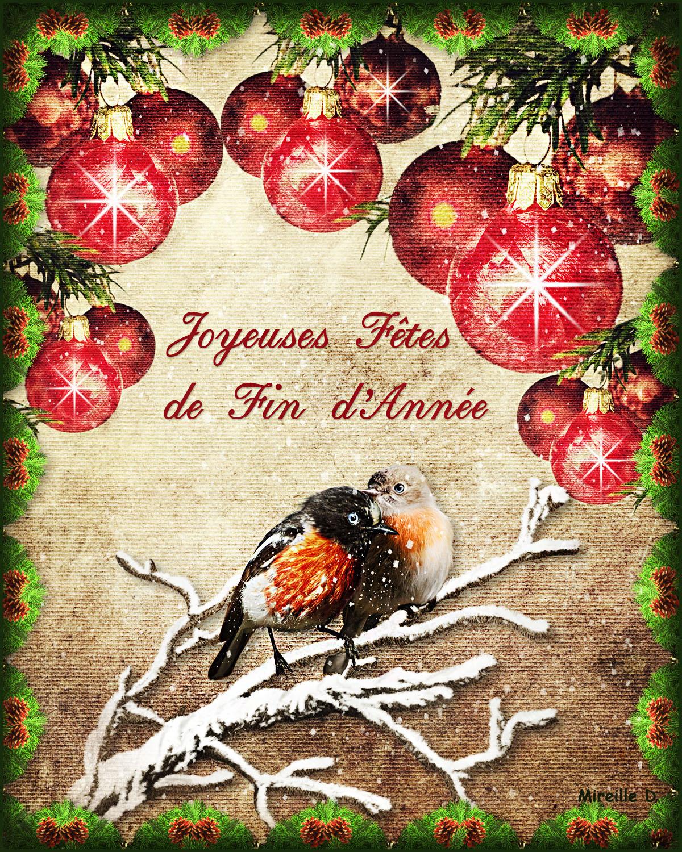 carte fin d année Oiseaux Fêtes de Fin d'Année (Carte Photomontage)   Chez Mireille D