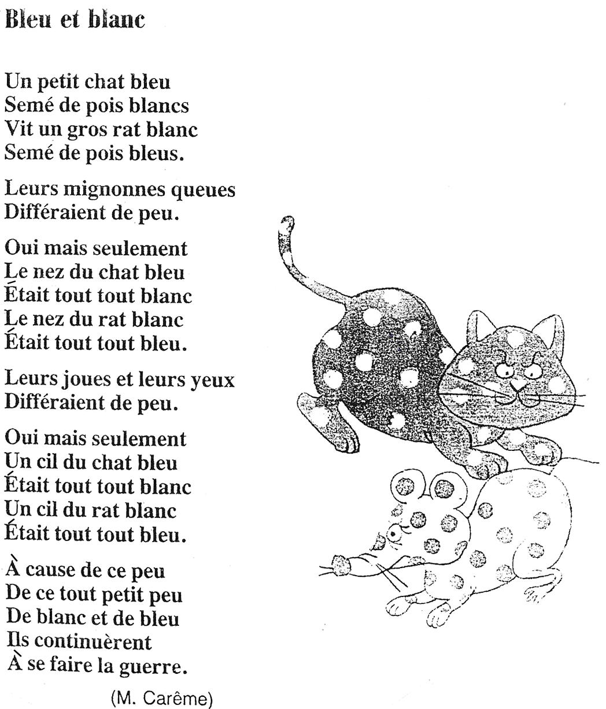 Bleu Et Blanc Maurice Carême Littérature Au Primaire
