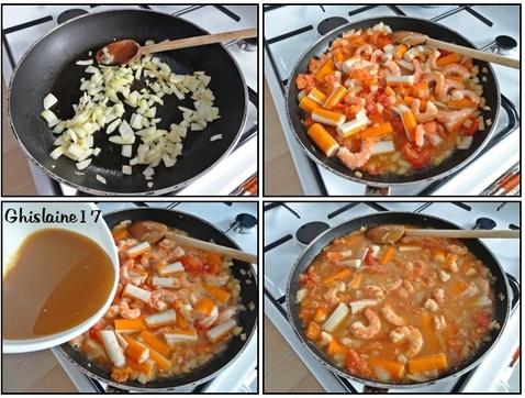 Crevettes et surimi à la sauce aigre-douce