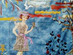 Premier Tableaux Mural avec les Chutes de Tissus : Promenade au Printemps .