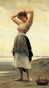 Eugene de Blaas On the Beach