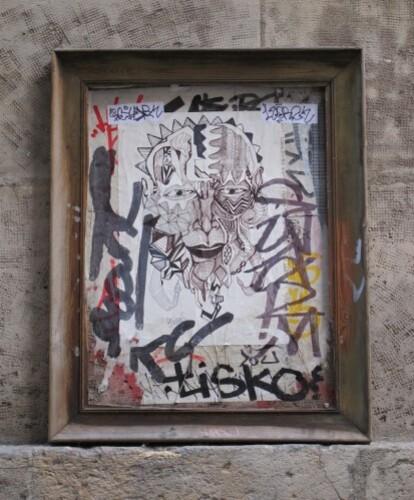 street-art Beaubourg visage cadre 0517