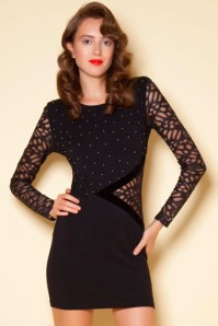 rio dress blk animal lace gold bead