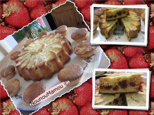 Génoise clémentines et fraises séchées