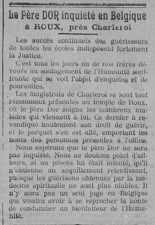 Le Père DOR inquiété en Belgique (Le Fraterniste, 20 mars 1914)