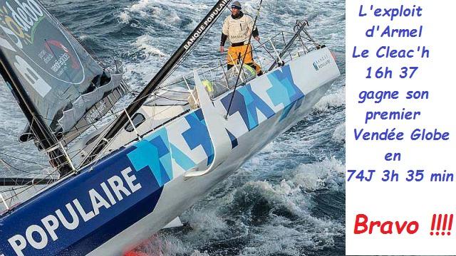 Vendée Globe 2016-2017: 74 jours 3 h et 35 min nouveau record ..Armel Le Cleac'h crée l'exploit
