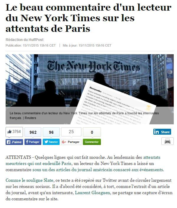 Des larmes pour Paris et pour la France - Ajout du 16/11/2015