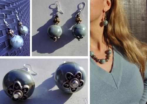 parure de bijou en perles de faïence