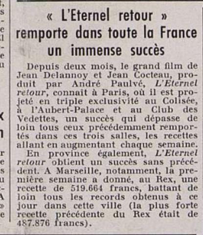 L'ETERNEL RETOUR - SORTIE PARIS LE 13 OCTOBRE 1943