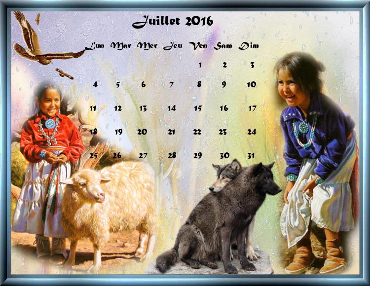 calendriers de Juillet 2016
