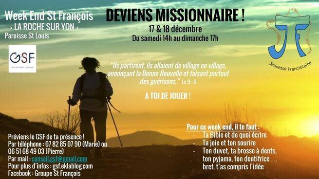 """17 - 18 décembre : """"week-end saint François"""" !"""
