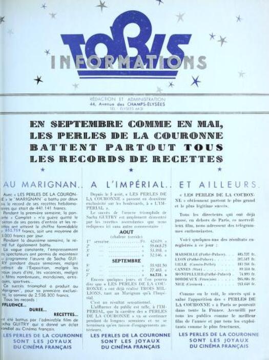 LES PERLES DE LA COURONNE - SORTIE PARIS AU MARIGNAN EN MAI 1937