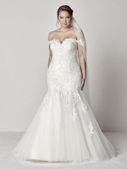 robe de mariée sirène épaule dénudé appliqué de dentelle