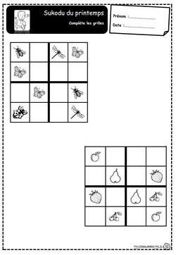 Sudoku du printemps, jeu, réflexion, cep, Ce1, autonomie, saisons