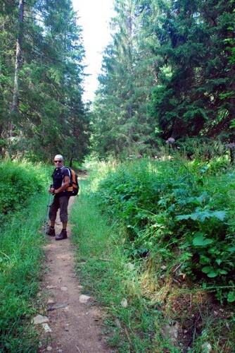 Sur un petit sentier en forêt de Chalan