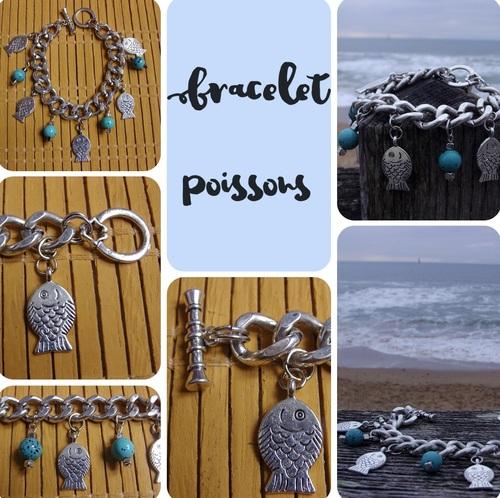Bracelet poissons argentés et leurs perles turquoises