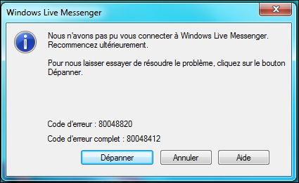 [MSN - Windows Live Messenger] Erreur 80048412