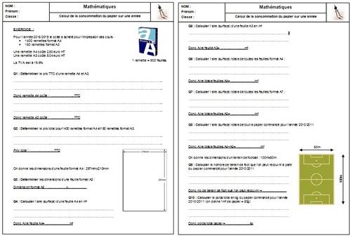 math1b : Calcul de consommation de papier du lycée sur l'année