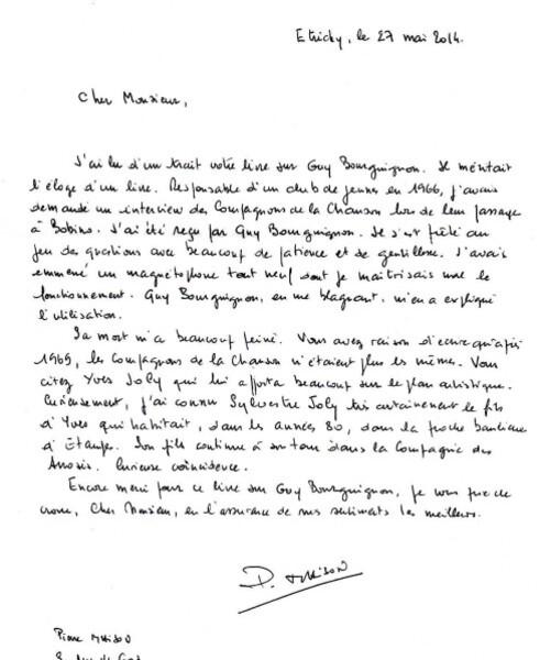 Félicitations ouvrage G Bourguignon