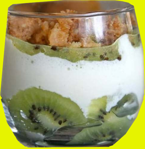 Verrine aux kiwi, mascarpone et son crumble