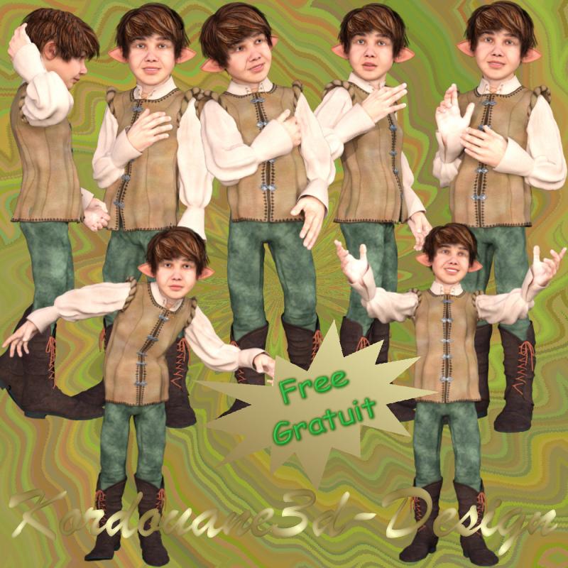 Jeune leprechaun (tube-image-poser-render)