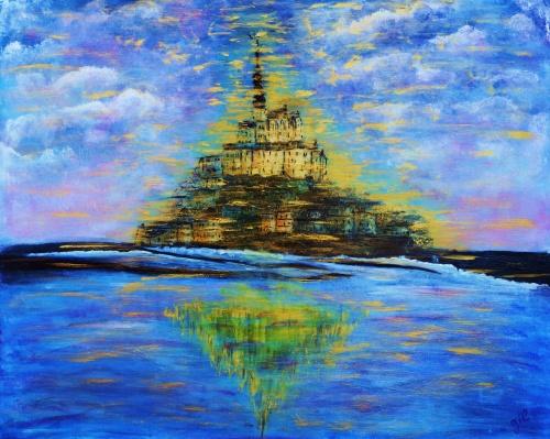"""285. """"Le Mont St Michel"""" Acrylique sur toile de 0,80 x 0,60"""