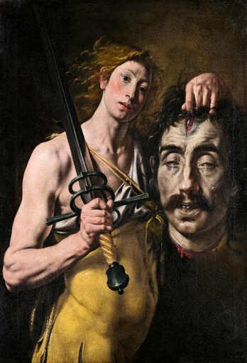 Un jeune homme drapé dà l'épaule et portant un glaive, porte une tête décapitée largement plus grande que la sienne.