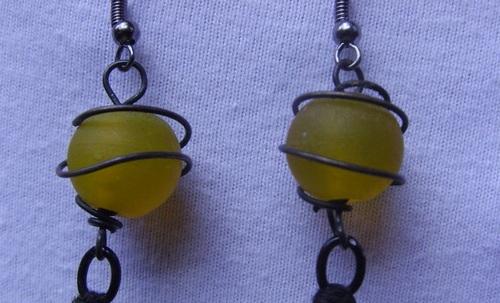 perles de verre des Boucles d'oreilles en plumes