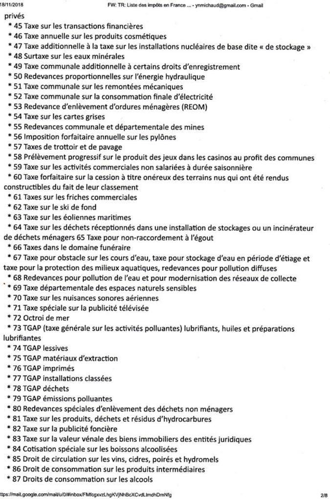 Liste des + de 250 taxes en France = RAS LE BOL