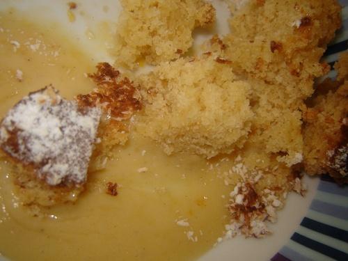 Gâteau ananas, coco, crème anglaise