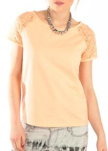 T'shirt orange dentelles
