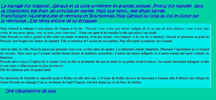 Sainte Procule/Patronne de Gannat/Rodez/Rouergue