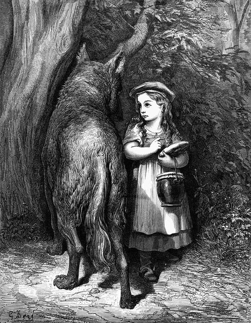 Le Petit Chaperon Rouge rencontre le loup