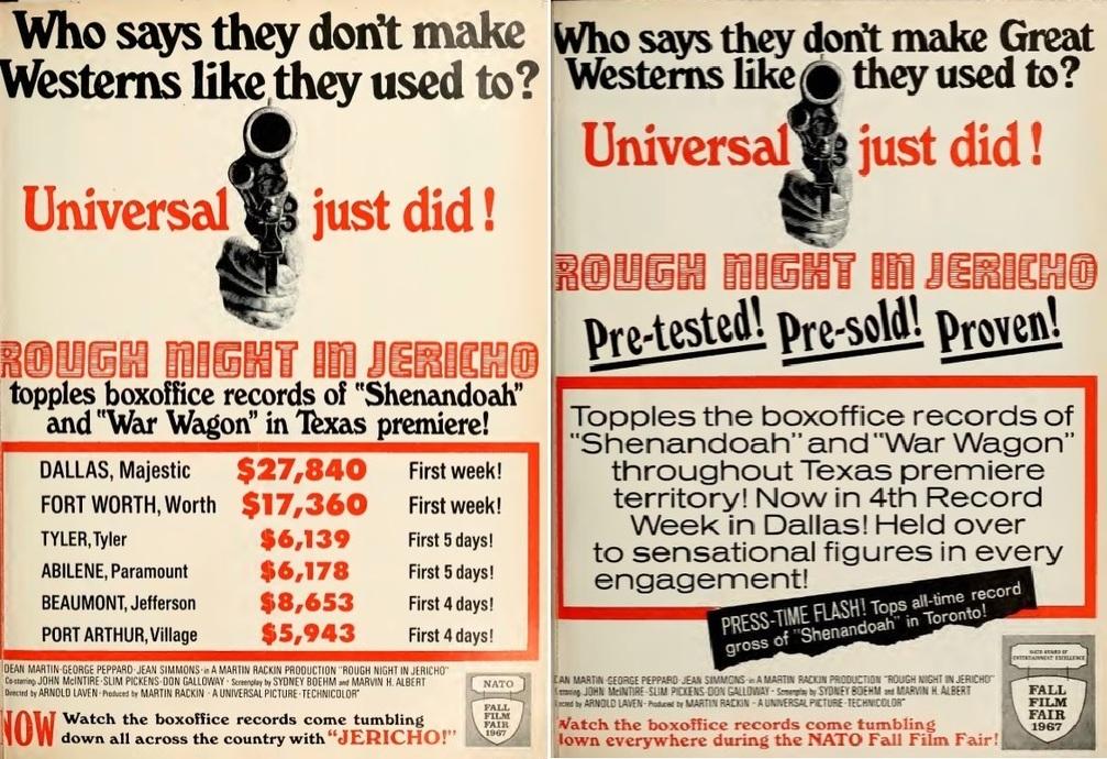 ROUGH NIGHT IN JERICHO box office usa 1967