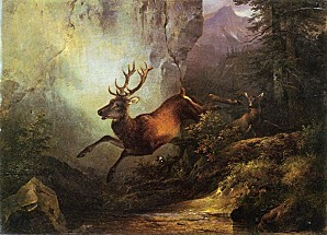 Friedrich-Gauermann-xx-Deer-Running-through-a-Forest-xx-Pri
