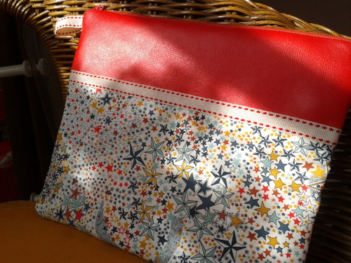 Pochette liberty adeladja multicolore simili rouge